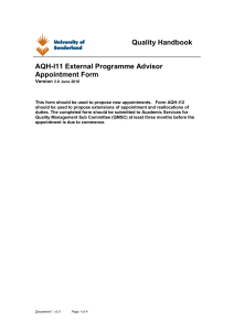 External Advisors in Collaborative Provision