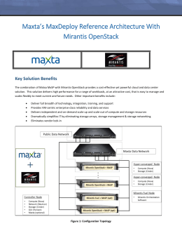 Maxta`s MaxDeploy Reference Architecture With Mirantis OpenStack