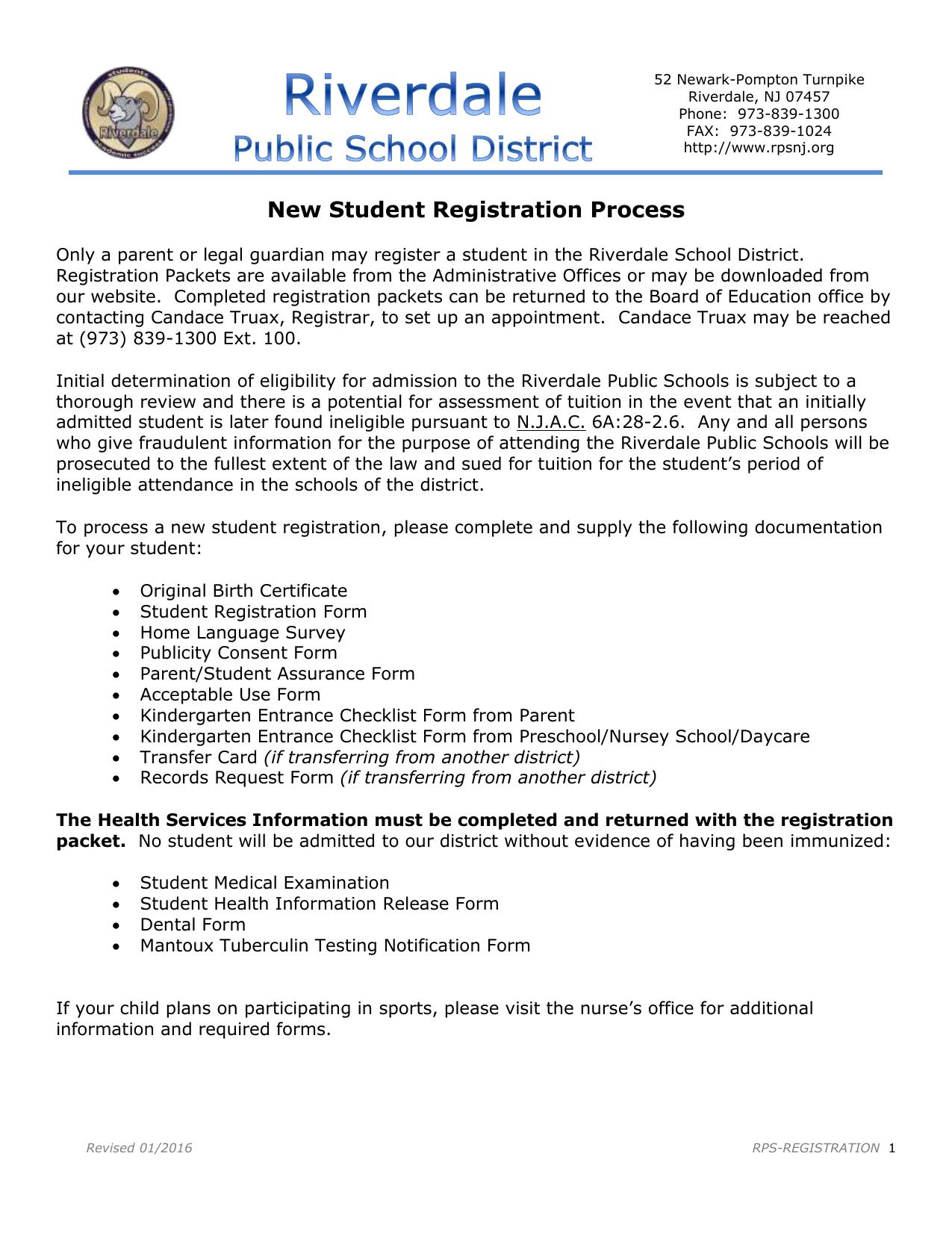 Registration Form for Enrollment
