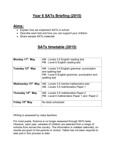 KS2 SATs brief hand out