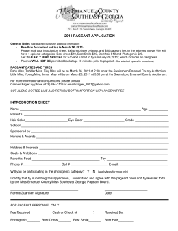 2011 PAGEANT APPLICATION General Rules (see attached bylaws