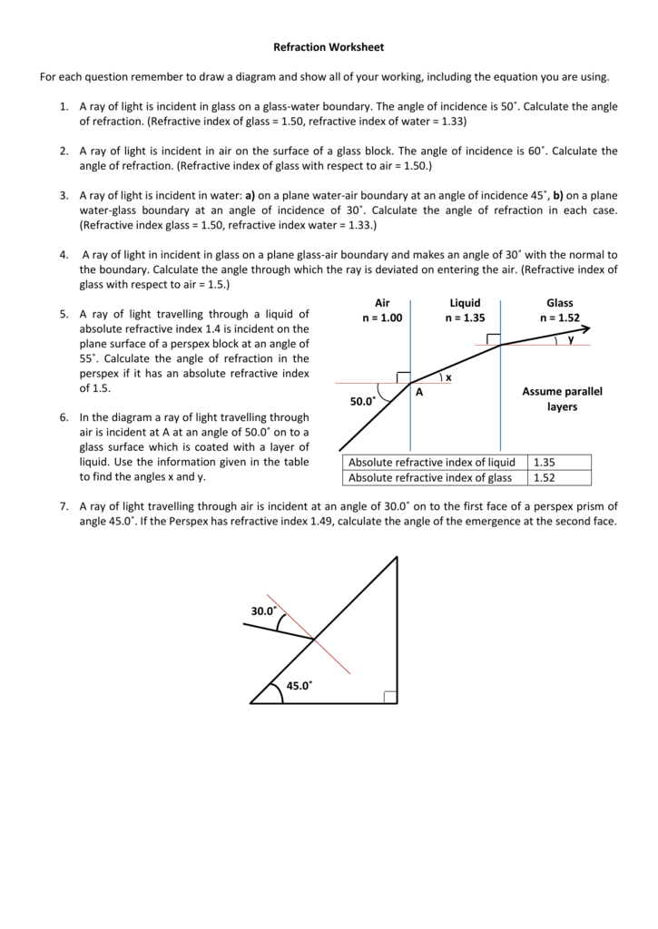 worksheet. Refraction Worksheet. Grass Fedjp Worksheet Study Site