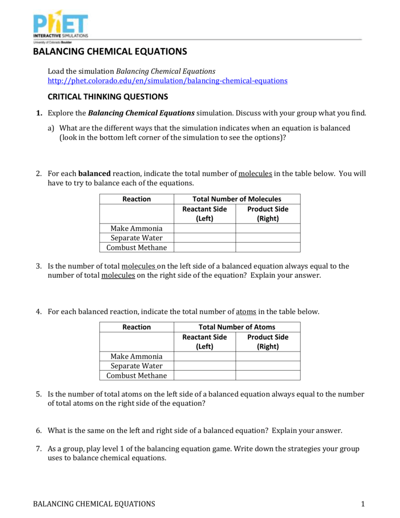 Balancing Chemical Equations – Balancing Chemical Equations Chapter 7 Worksheet 1 Answers