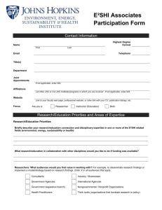 E²SHI Associates Participation Form