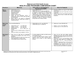 California Health Programs Comparison Chart (9/2011) – Maternal