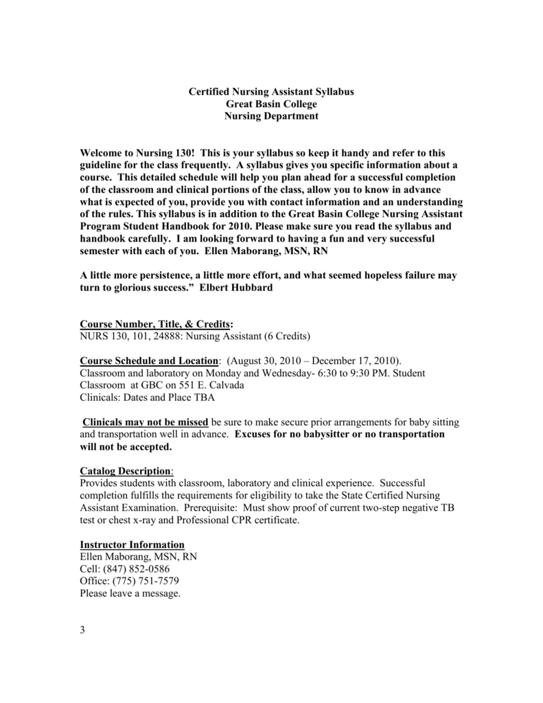 Certified Nursing Assistant Syllabus Great Basin College Nursing