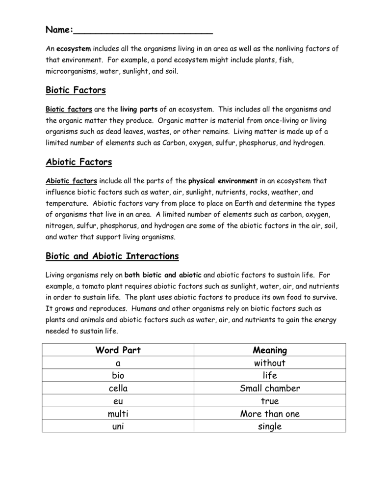 abiotic and biotic factors worksheet Termolak – Abiotic and Biotic Factors Worksheet