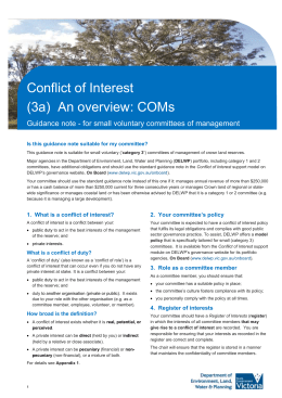 1. What is a conflict of interest? - Department of Environment, Land