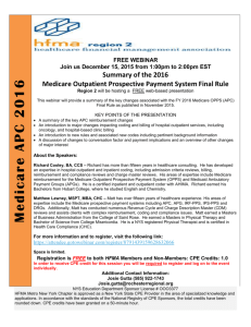 Dec 15th: APC Update - HFMA Central New York Chapter
