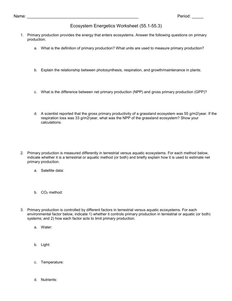 worksheet Trophic Levels Worksheet ecosytem energetics worksheet
