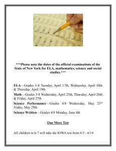 Official New York State Exam dates.