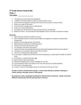 5 th Grade Science Study Guide Chap. 2 Test Date