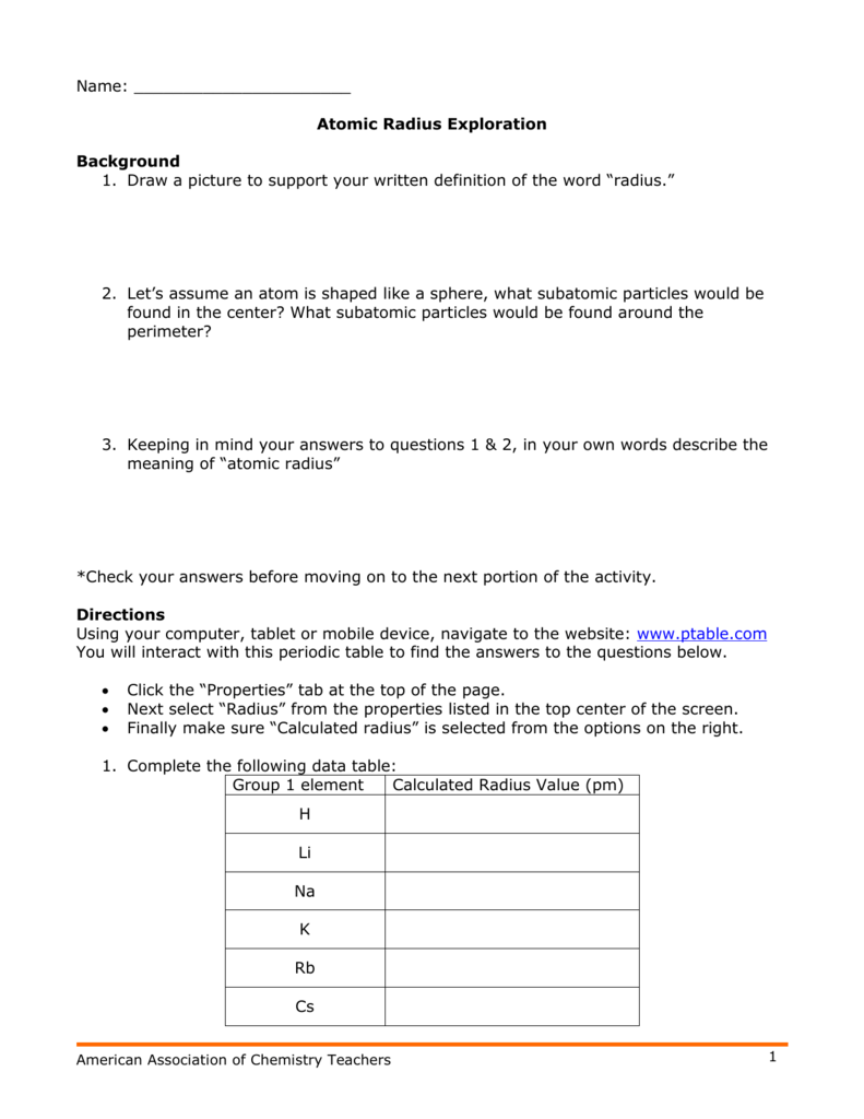 Exploring Trends Of The Periodic Table Worksheet Answer Key Elcho