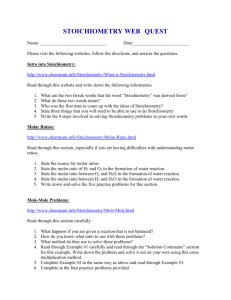 Stoichiometry Web Quest
