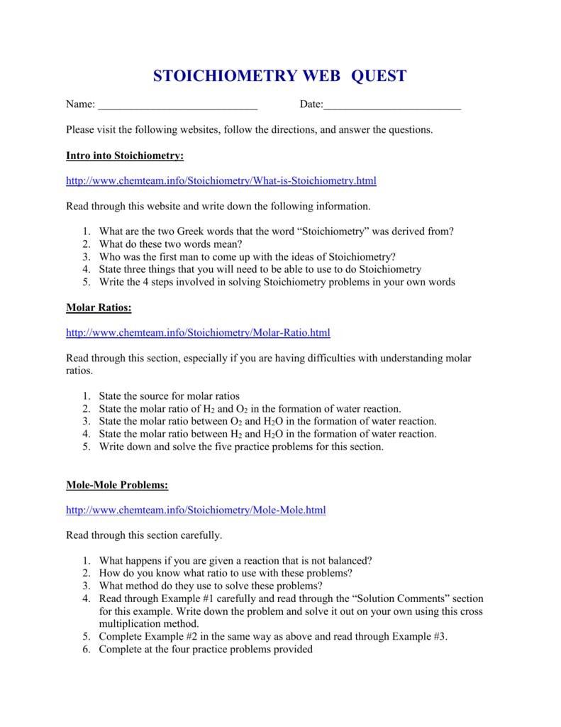 Stoichiometry Web Quest
