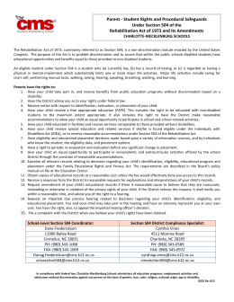 Section 504 Notification Letter To Parents