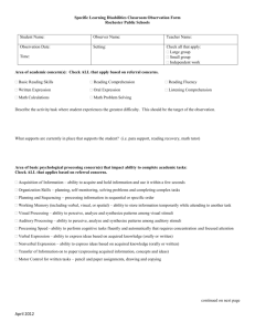 Specific Learning Disabilities Classroom Observation Form
