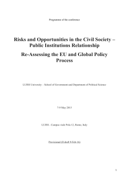 Risks and Opportunities in the Civil Society - Conf. Programme