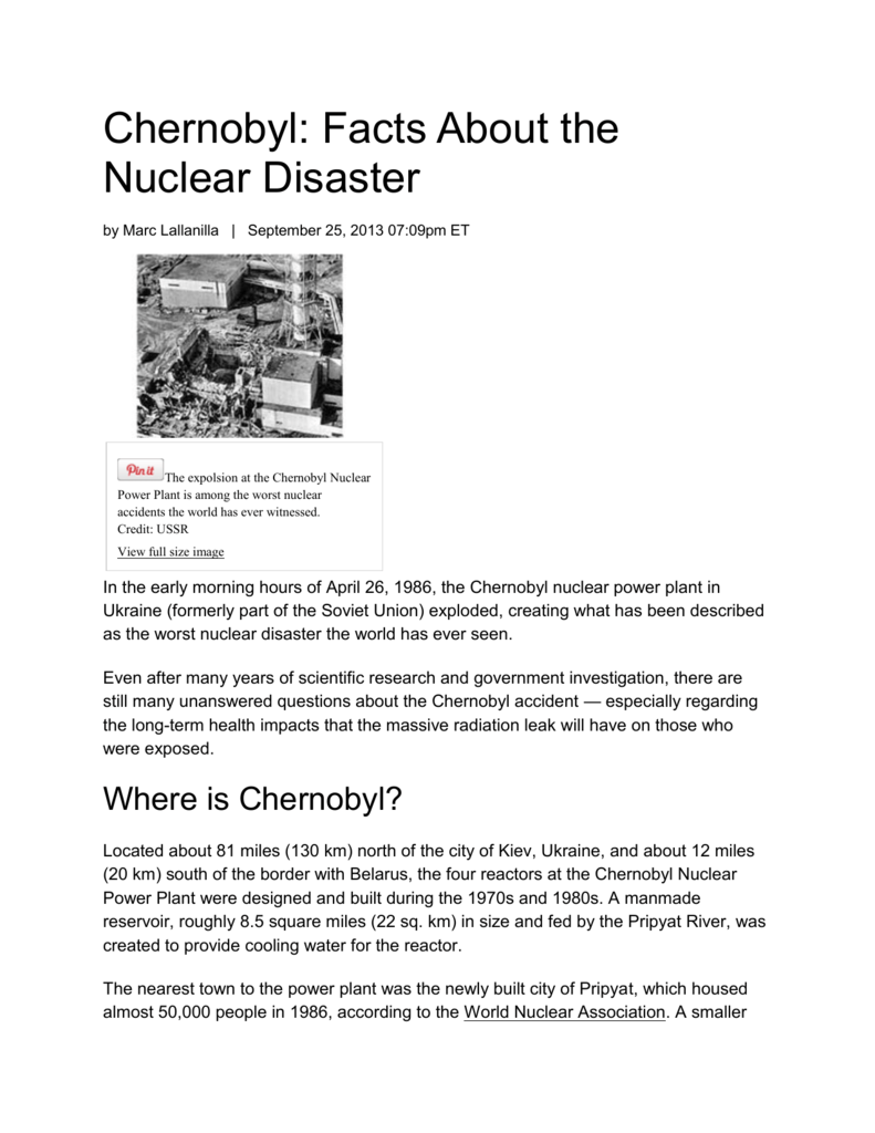 Chernobyl Article - Aspen View Academy