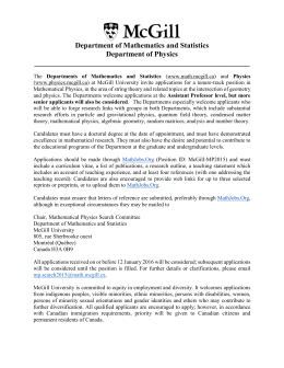 Tenure-Track Position in Mathematical Physics (String Theory)