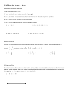 Algebra Part 3 2/21/2013 Notes Page