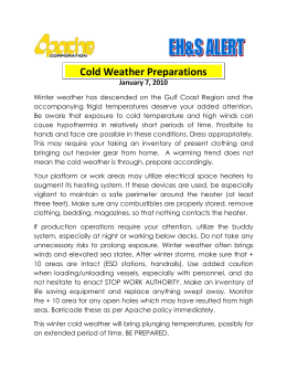 SAFETY ALERT: Cold Weather Preparations
