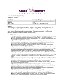 Pasco County Housing Authority Community Manager Department