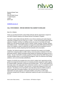 NLWA response to the Defra call for evidence on the RDF market in
