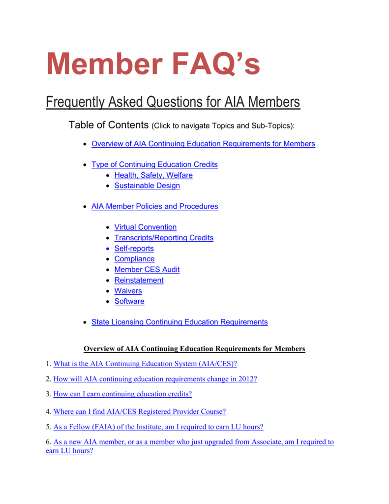 Overview Of Aia Continuing Education Requirements For Members