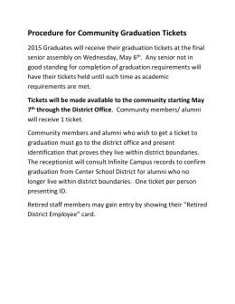 Information on Graduation Tickets for the Community
