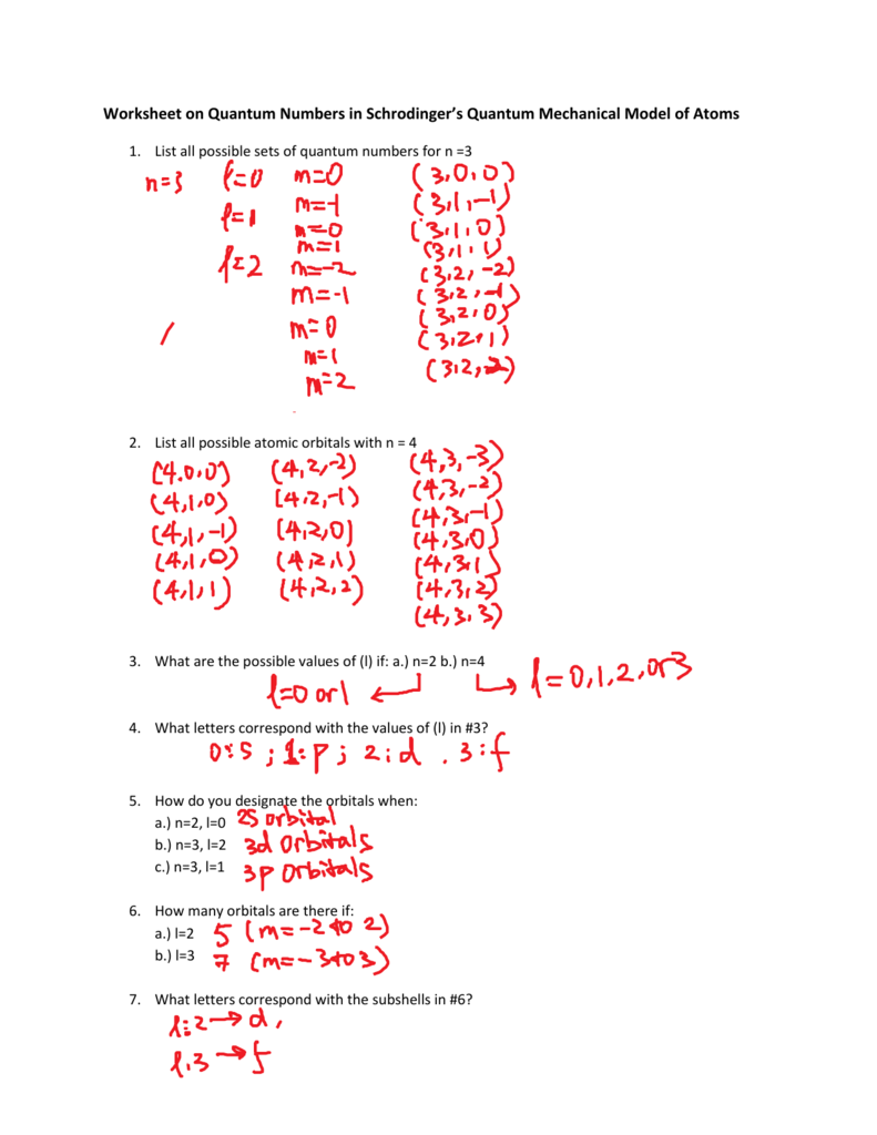 Quantum Numbers Worksheet I Answers