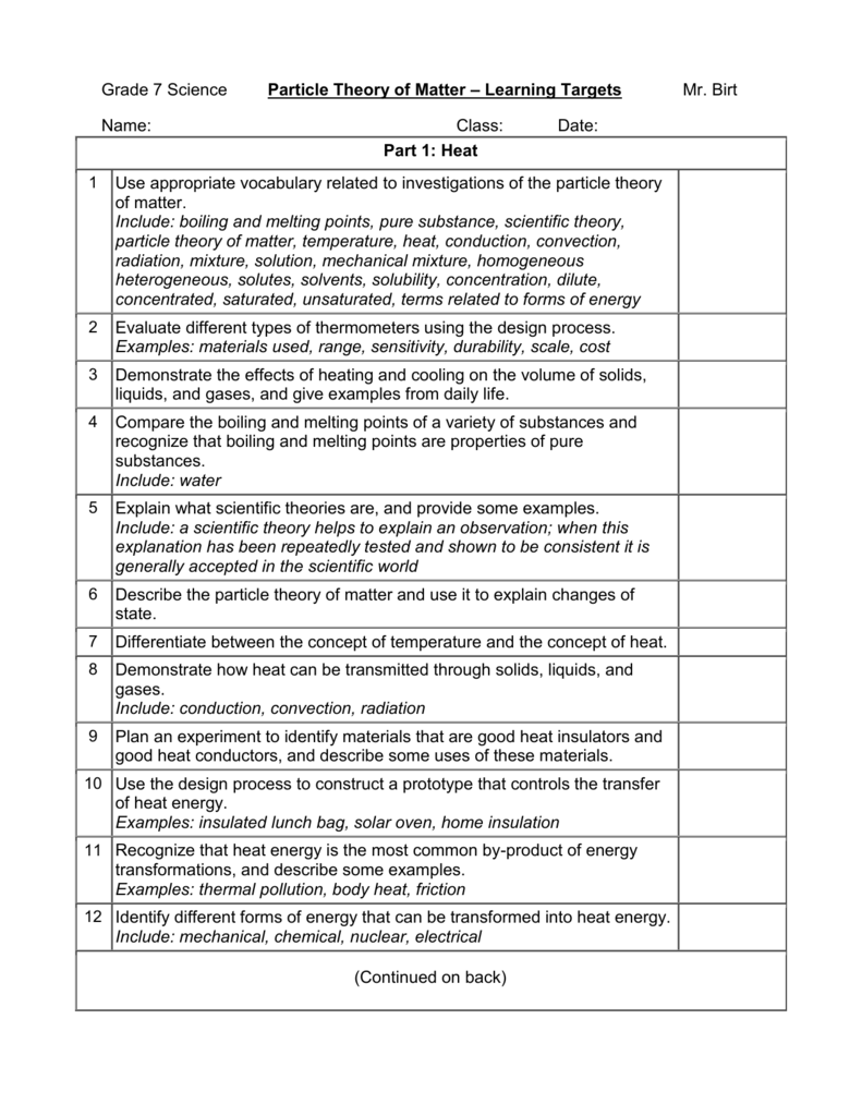 Grade 7 Science Particle Theory Of Matter Learning Targets Mr