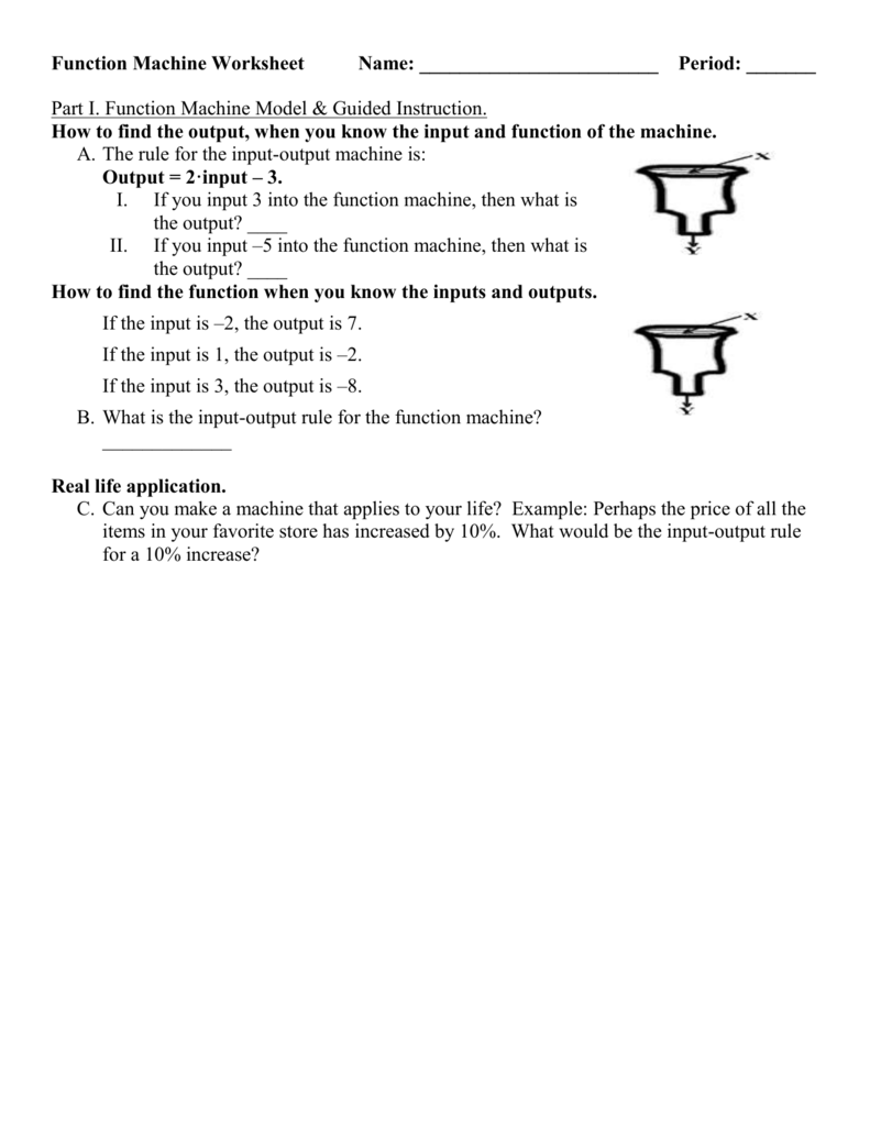 Function Machine Worksheet