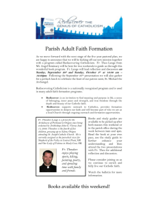 Parish Adult Faith Formation As we move forward with the next stage