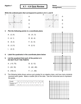 Algebra 1-2 Quiz One Chapter 10