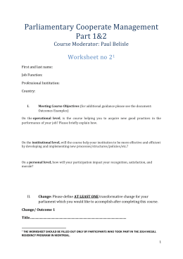 Parliamentary Cooperate Management Part 1&2 Course Worksheet