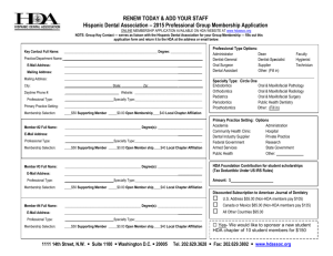 2015 Professional Group Membership Application
