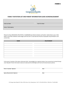 family visitation list and parent information guide acknowledgment