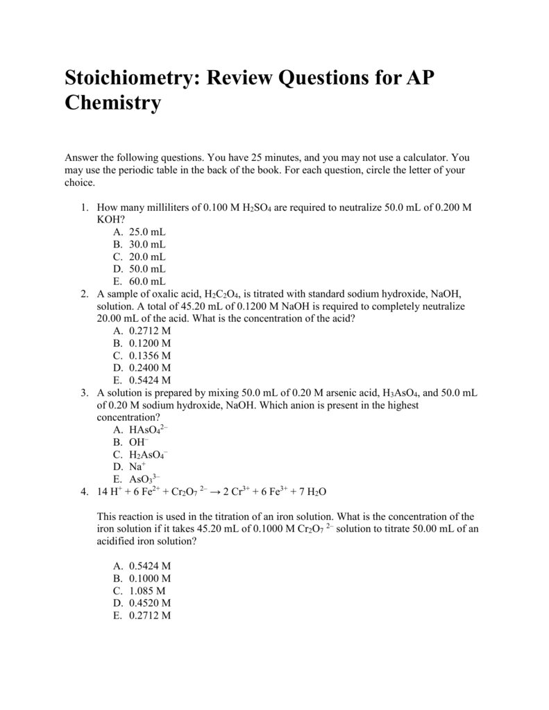 Stoichiometry Review Questions For Ap Chemistry Answers And