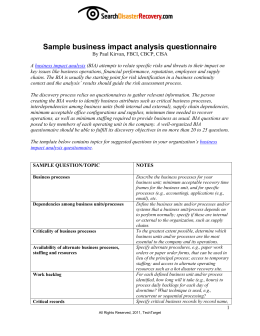 business impact analysis questionnaire