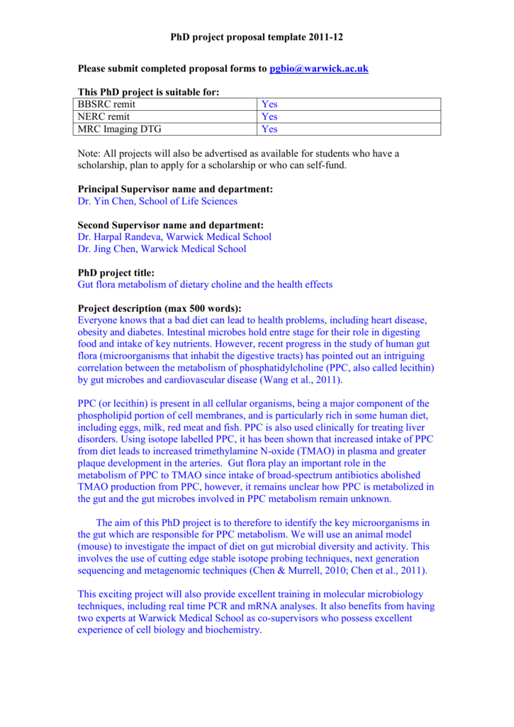 Phd Project Proposal Template 2011 12