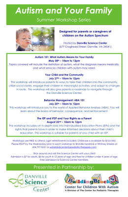 Autism Summer Workshop Series - Center for Pediatric Therapies