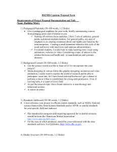 BSEMD Capstone Proposal Form Requirements of Project Proposal