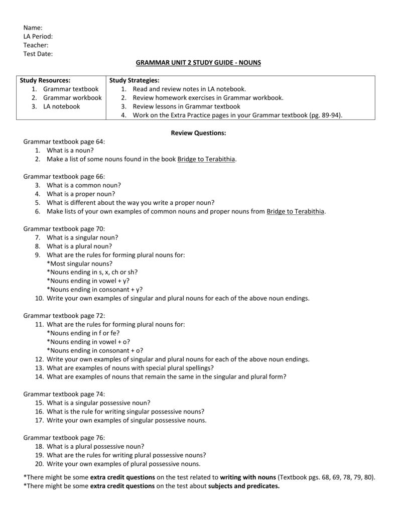 Grammar Unit 1 Study Guide