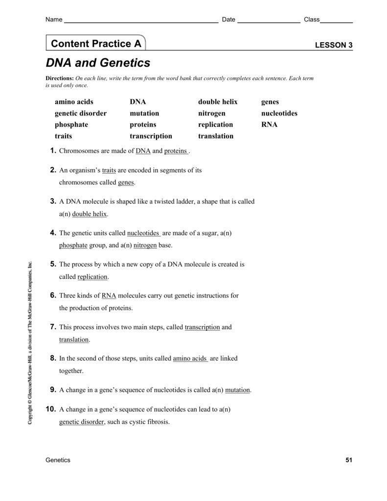 worksheet Chapter 11 Dna And Genes Worksheet Answers content practice ab with answers