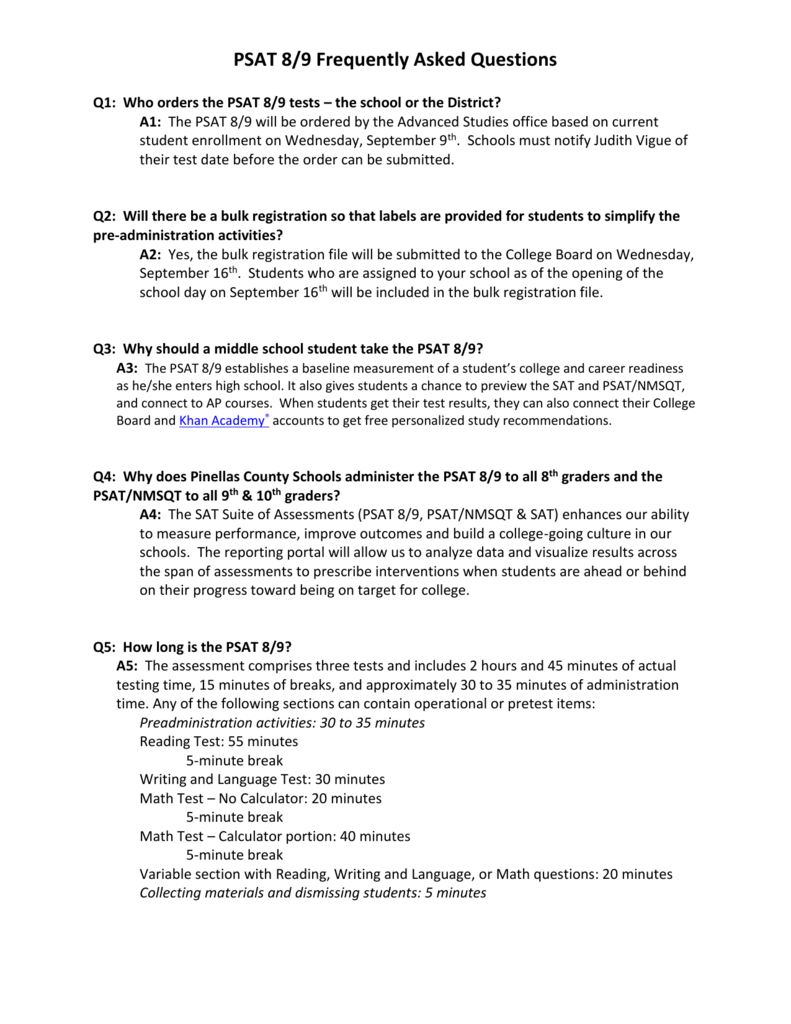 Psat 89 Frequently Asked Questions