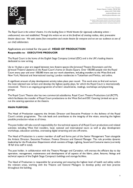 Head of Production job description April 2015