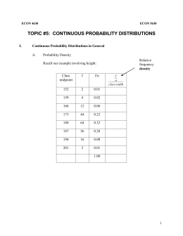 Topic 5: Continuous Probability Distributions