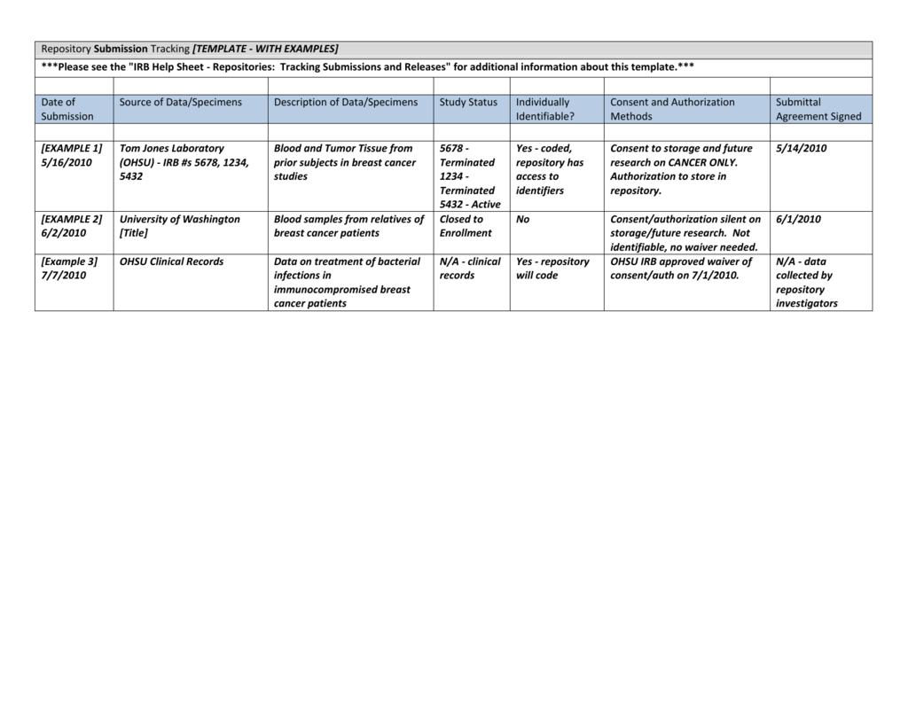 Repository tracking template word platinumwayz