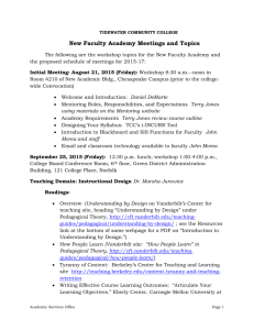 New Faculty Academy Meetings and Topics